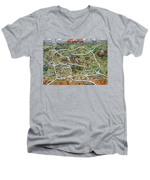 Men's V-Neck T-Shirt featuring the painting Atlanta Cartoon Map by Kevin Middleton