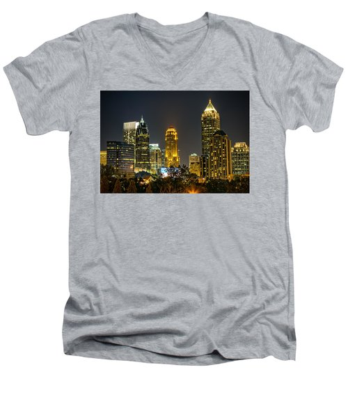 Atlanta Skyscrapers  Men's V-Neck T-Shirt by Anna Rumiantseva