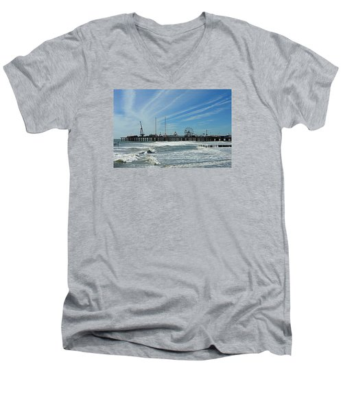 Men's V-Neck T-Shirt featuring the photograph Atlantic City, New Jersey by Allen Beilschmidt