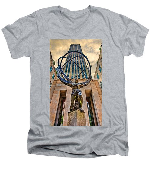 Atlas At The Rock Men's V-Neck T-Shirt