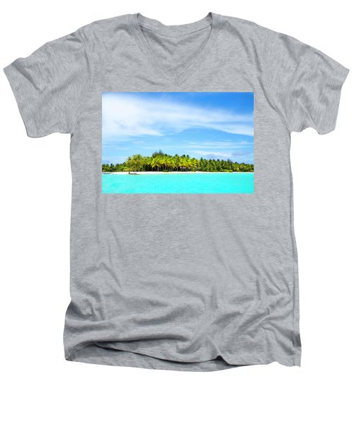 Men's V-Neck T-Shirt featuring the photograph Atoll by Sharon Jones