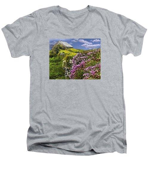 Atop A Crag Men's V-Neck T-Shirt