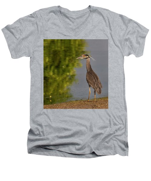 Attentive Heron Men's V-Neck T-Shirt by Jean Noren