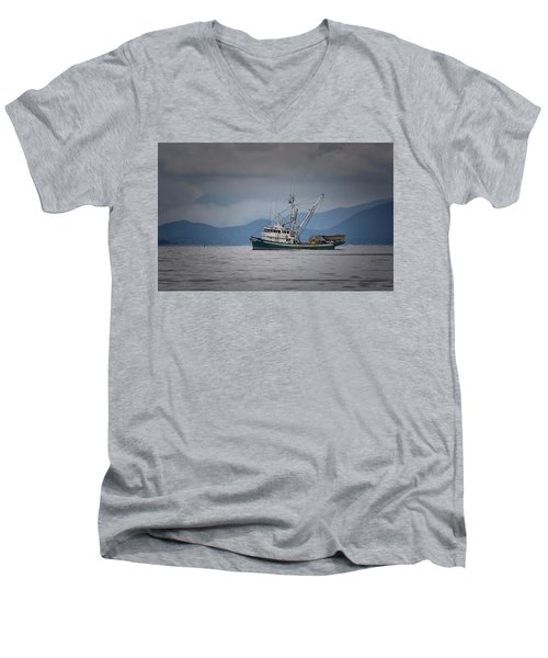 Men's V-Neck T-Shirt featuring the photograph Attu Off Madrona by Randy Hall