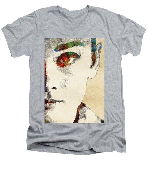 Audrey Half Face Portrait Men's V-Neck T-Shirt