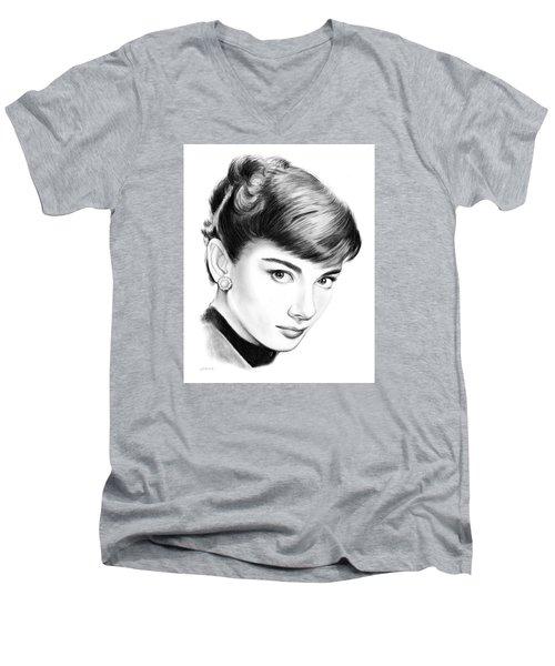 Audrey Hepburn Men's V-Neck T-Shirt by Greg Joens