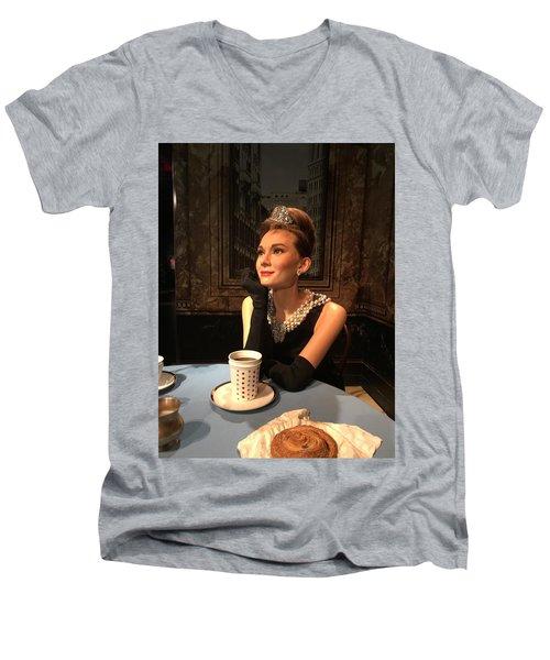 Audrey Hepburn Men's V-Neck T-Shirt by Kay Gilley