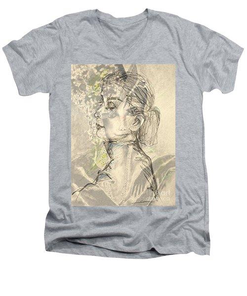 Audrey Two -- Portrait Of Audrey Hepburn Men's V-Neck T-Shirt