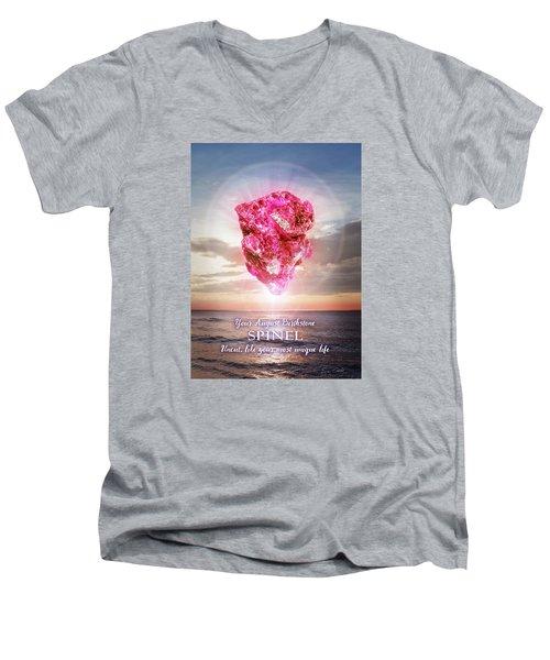 August Birthstone Spinel Men's V-Neck T-Shirt