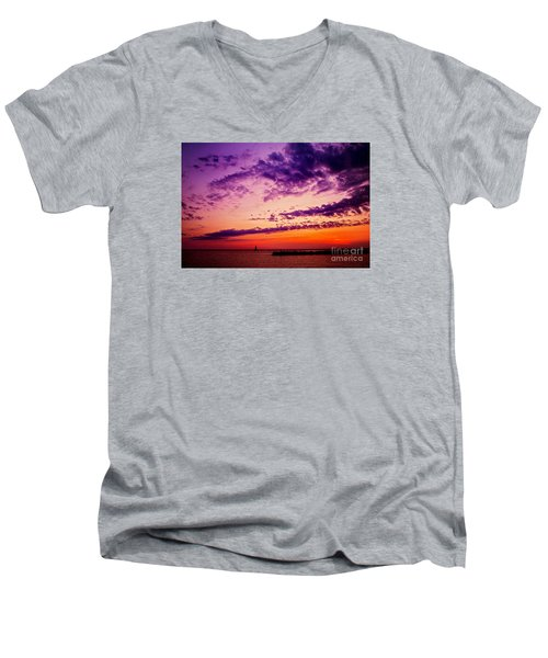 August Night Men's V-Neck T-Shirt by Randall  Cogle