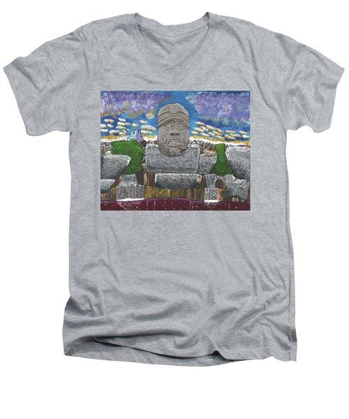 August  Olmec Head Men's V-Neck T-Shirt