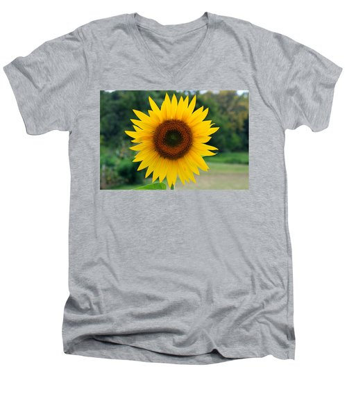 Men's V-Neck T-Shirt featuring the photograph August Sunflower by Jeff Severson