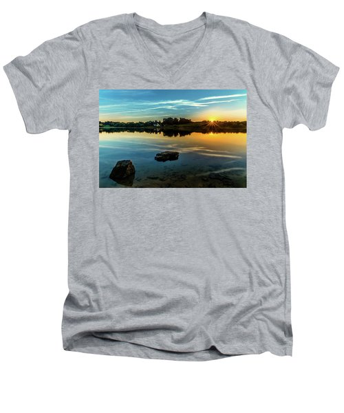 Men's V-Neck T-Shirt featuring the photograph August Sunset by Nick Bywater