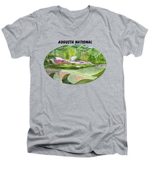 Men's V-Neck T-Shirt featuring the painting Augusta National Golf Course With Banner by Bill Holkham