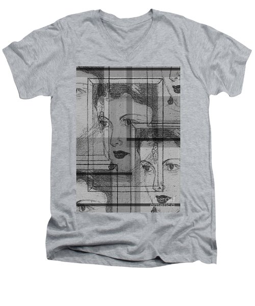 Aunt Edie Black And White Print Men's V-Neck T-Shirt