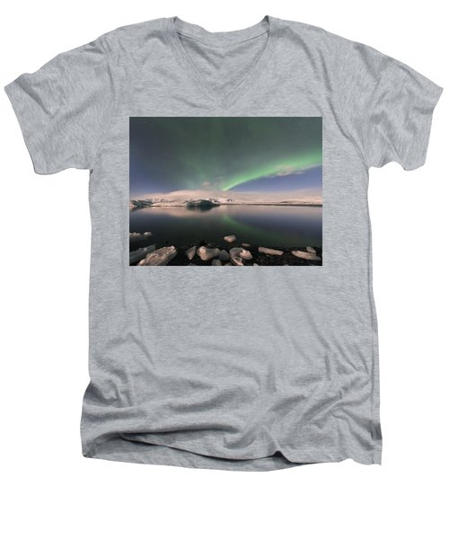 Men's V-Neck T-Shirt featuring the photograph Aurora Borealis And Reflection by Wanda Krack