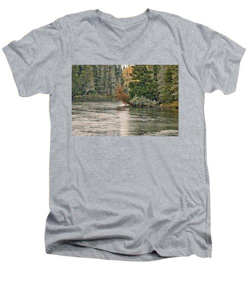 Ausable River 9899 Men's V-Neck T-Shirt by Michael Peychich