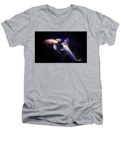 Auspicious Three Men's V-Neck T-Shirt by John Poon