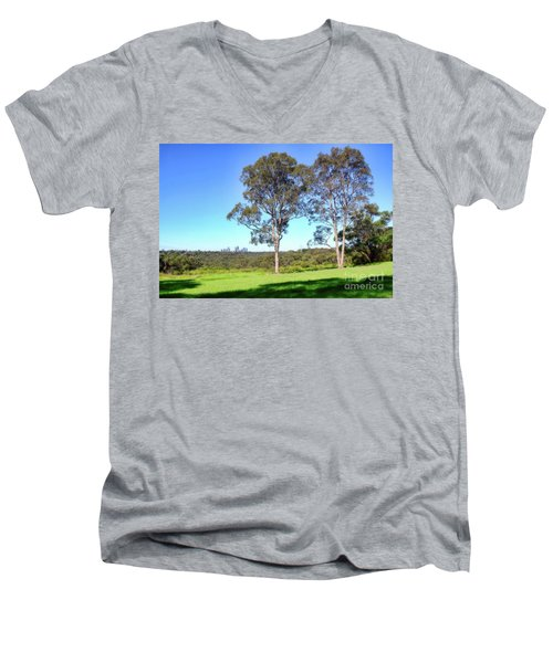 Men's V-Neck T-Shirt featuring the photograph Aussie Gum Tree Landscape By Kaye Menner by Kaye Menner