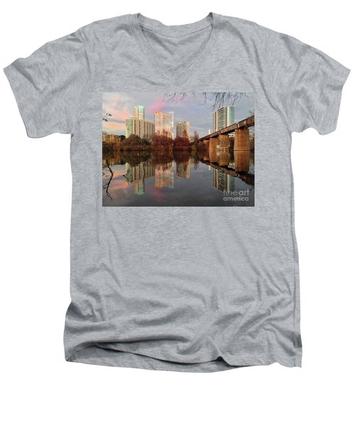 Austin Hike And Bike Trail - Train Trestle 1 Sunset Triptych Left Men's V-Neck T-Shirt by Felipe Adan Lerma