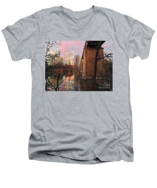 Austin Hike And Bike Trail - Train Trestle 1 Sunset Triptych Middle Men's V-Neck T-Shirt by Felipe Adan Lerma