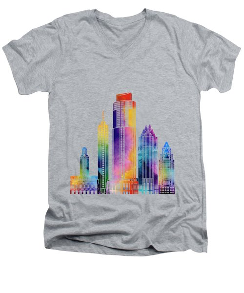 Austin Landmarks Watercolor Poster Men's V-Neck T-Shirt