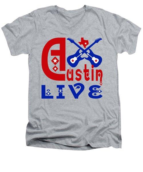 Austin Live Men's V-Neck T-Shirt by David G Paul