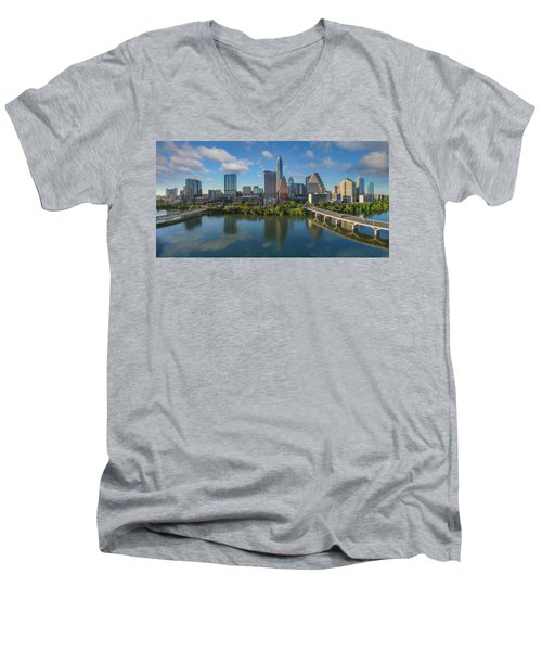 Austin Skyline Panorama Spring Afternoon 7-1 Men's V-Neck T-Shirt by Rob Greebon