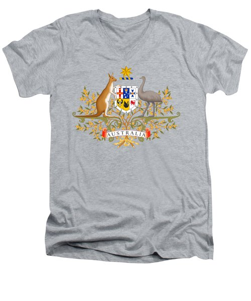 Australia Coat Of Arms Men's V-Neck T-Shirt by Movie Poster Prints