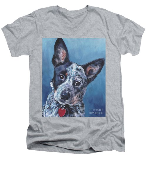 Men's V-Neck T-Shirt featuring the painting Australian Cattle Dog by Lee Ann Shepard