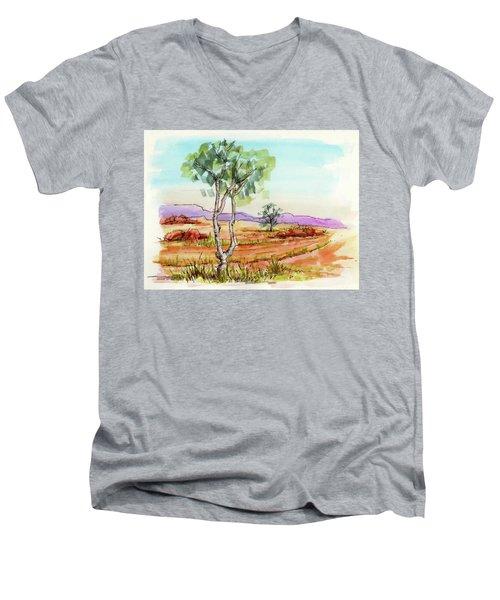 Australian Landscape Sketch Men's V-Neck T-Shirt by Margaret Stockdale