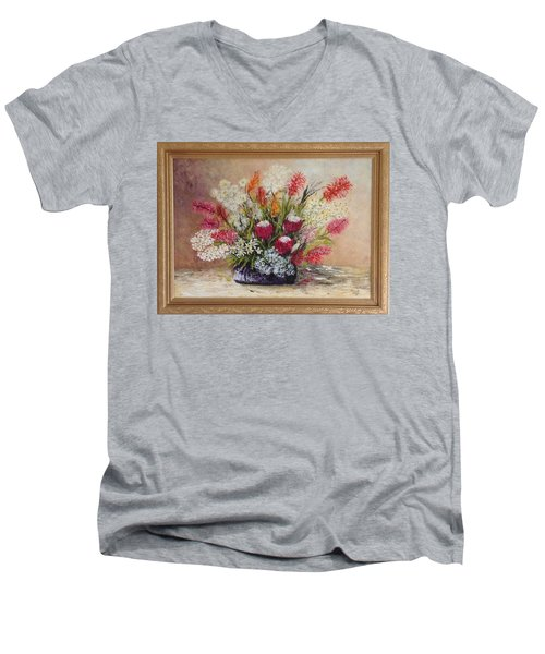 Men's V-Neck T-Shirt featuring the painting Australian Natives by Renate Voigt
