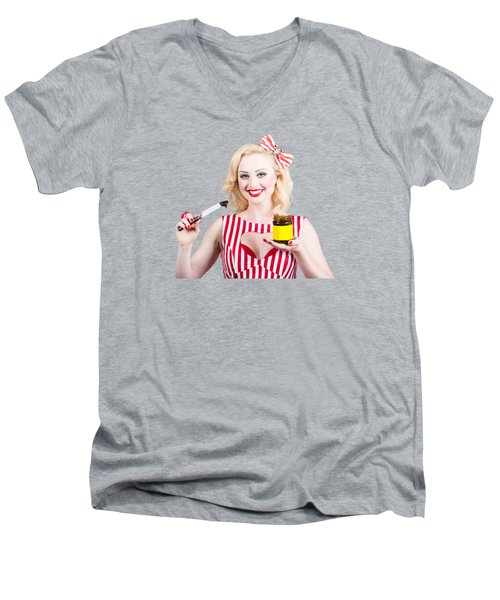 Australian Pinup Woman Holding Sandwich Spread Men's V-Neck T-Shirt by Jorgo Photography - Wall Art Gallery