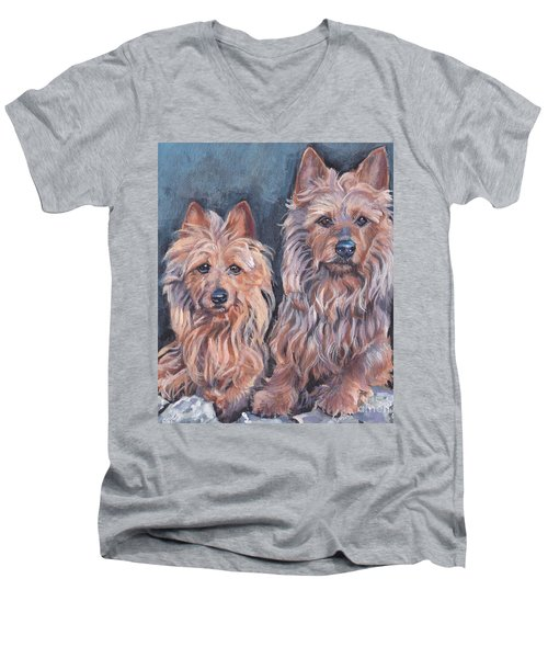 Men's V-Neck T-Shirt featuring the painting Australian Terriers by Lee Ann Shepard