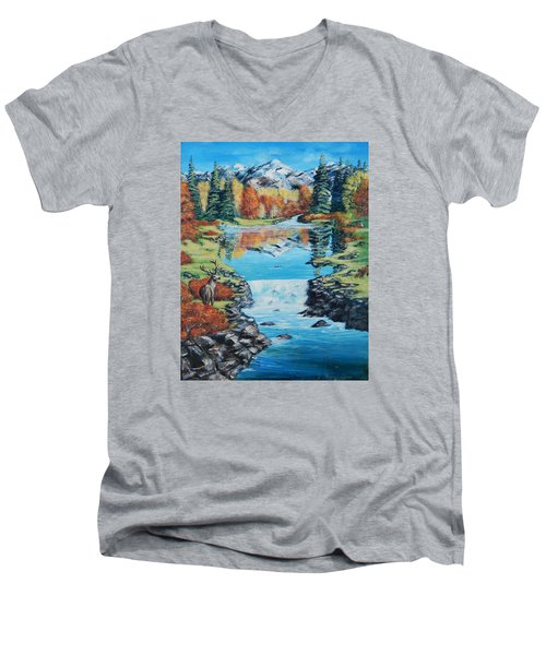 Autum Stag Men's V-Neck T-Shirt by Ruanna Sion Shadd a'Dann'l Yoder
