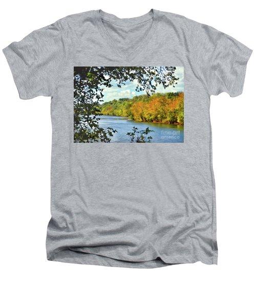 Autumn Along The New River - Bisset Park - Radford Virginia Men's V-Neck T-Shirt