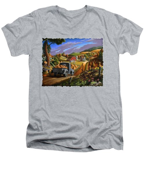 Autumn Appalachia Thanksgiving Pumpkins Rural Country Farm Landscape - Folk Art - Fall Rustic Men's V-Neck T-Shirt by Walt Curlee