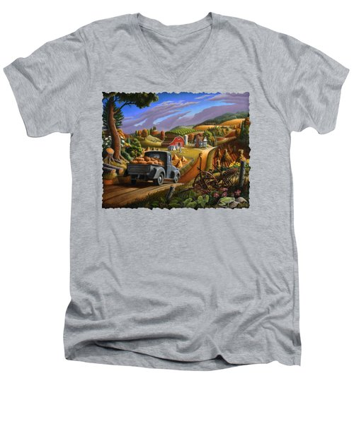 Autumn Appalachia Thanksgiving Pumpkins Rural Country Farm Landscape - Folk Art - Fall Rustic Men's V-Neck T-Shirt