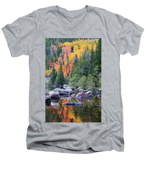 Men's V-Neck T-Shirt featuring the photograph Autumn At Bear Lake by David Chandler