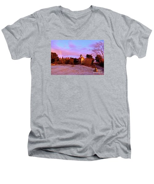 Autumn At East Point Lighthouse Men's V-Neck T-Shirt by Nancy Patterson