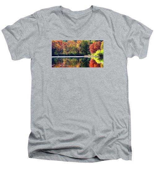Autumn At Laurel Lake Men's V-Neck T-Shirt by Angela Davies