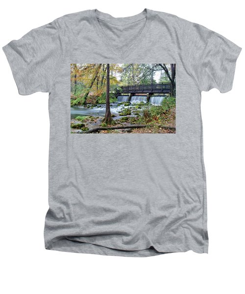 Men's V-Neck T-Shirt featuring the photograph Autumn At Maramec Spring by Cricket Hackmann