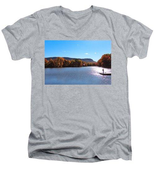 Men's V-Neck T-Shirt featuring the photograph Autumn At Nashawannuck Pond by Sven Kielhorn