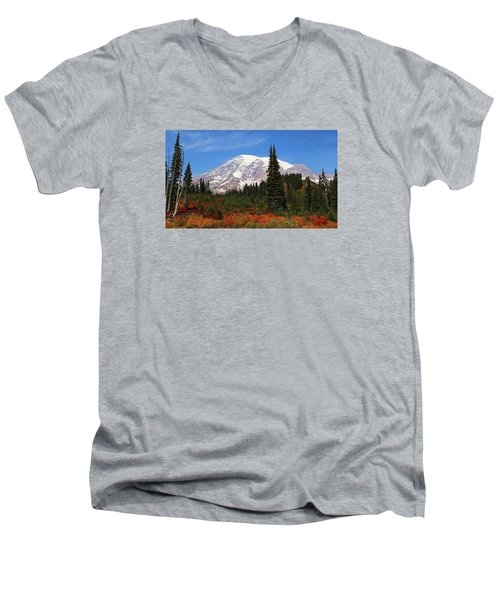 Men's V-Neck T-Shirt featuring the photograph Autumn At Paradise by Lynn Hopwood