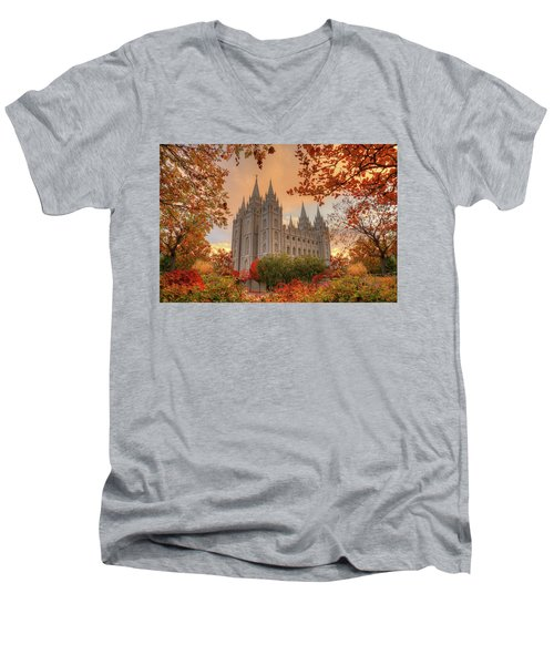 Autumn At Temple Square Men's V-Neck T-Shirt