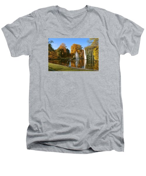 Autumn At The City Park Pond Maastricht Men's V-Neck T-Shirt