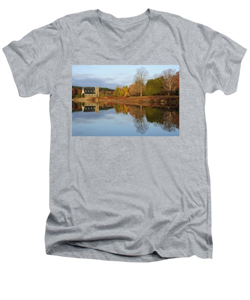 Autumn At The Old Stone Church Men's V-Neck T-Shirt