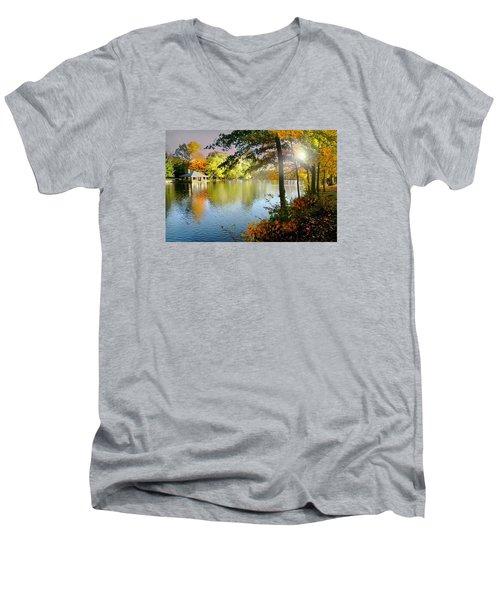 Autumn At Tilley Pond Men's V-Neck T-Shirt by Diana Angstadt