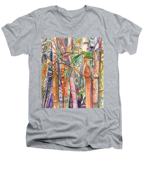 Autumn Bamboo Men's V-Neck T-Shirt by Marionette Taboniar
