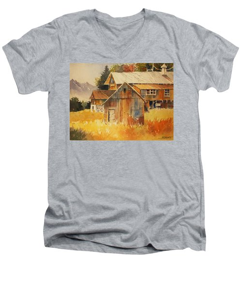 Autumn Barn And Sheds Men's V-Neck T-Shirt by Al Brown